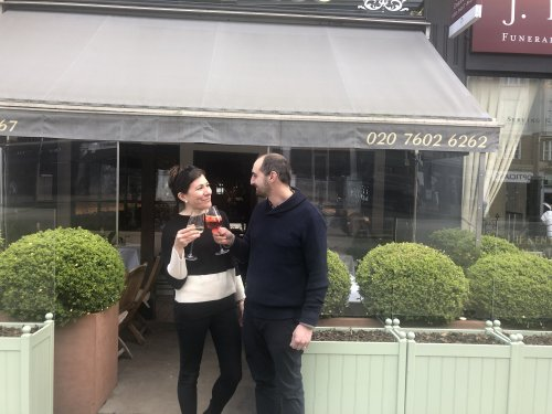 Pub gardens and restaurant terraces burst with customers after snow fails to dampen spirits