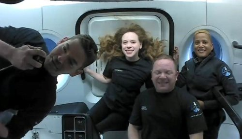 SpaceX Inspiration4 civilian crew do flips and play ukulele as spacecraft soars over Europe