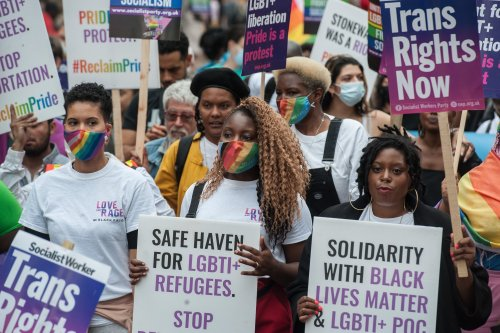 Protesters call on Boris Johnson to improve LGBT+ rights at Reclaim Pride march in London