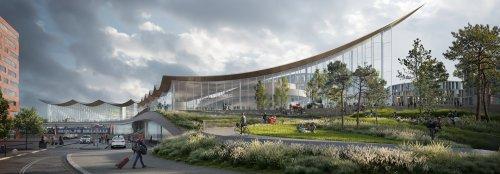 Transportation hub in Sweden has a futuristic, floating solar roof