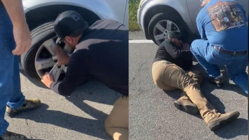 Luke Bryan Changes Mom's Blown-Out Tire on Side of the Road