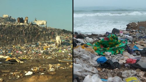 Mountains of Old Clothes Choke Beautiful Beach in Ghana's Capital of Accra