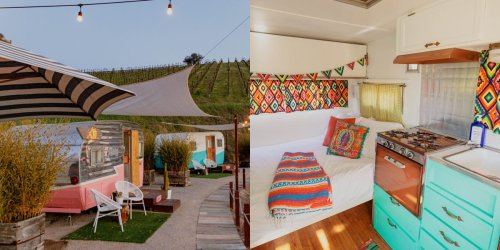 You and your friends can stay in Instagrammable retro campers and drink wine on a California vineyard