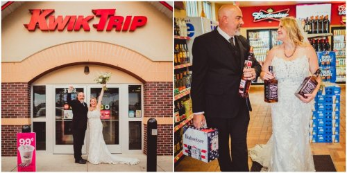 A couple took their wedding photos at Kwik Trip, and the convenience store has never looked more romantic