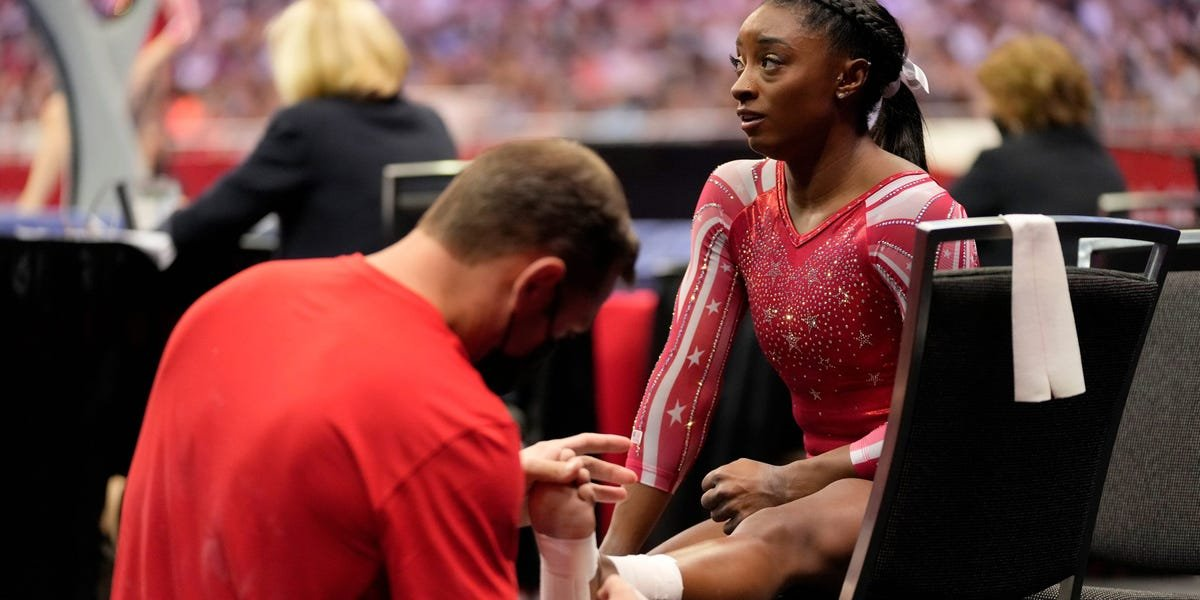 Simone Biles may be dealing with an injury as she competes for gold at the Tokyo Olympics