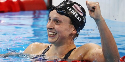 Katie Ledecky wore a cap and gown over her bathing suit to celebrate her Stanford graduation poolside at Olympic trials