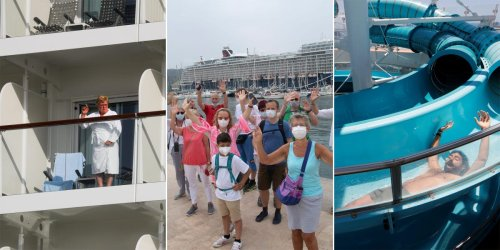 Photos show people on cruise ships setting sail around the world for the first time in more than a year