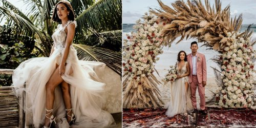 A bride wore a sheer, sparkly dress with a dramatic slit to her intimate destination wedding in Tulum