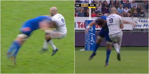A rugby player almost snapped his opponent in half with a horrific late tackle so bad even his teammates were furious with him