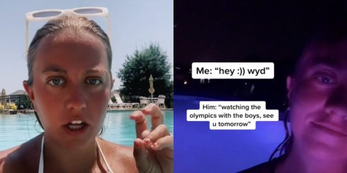 A TikTok creator said she faked a viral video about a cheating boyfriend watching the Olympics with a girl to 'bring in the likes and followers'