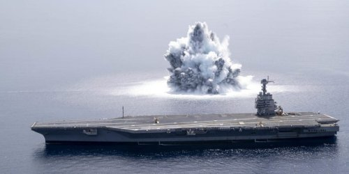 The US Navy set off explosives next to its new aircraft carrier to see if the ship can handle the shock