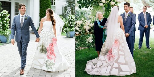 A bride traded in her traditional wedding dress for a gown with a more colorful skirt