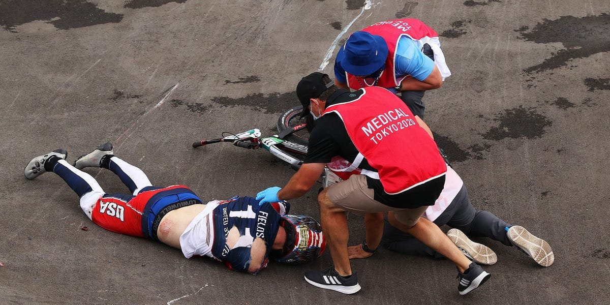 US Olympic BMX rider taken off in a stretcher after a scary crash 9 seconds into a race