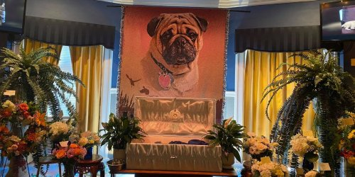 Photos show the extravagant open-casket funeral for a pet pug much beloved by a pastor from Pennsylvania