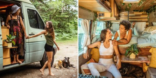 A couple lives in a converted sprinter van with 2 dogs. Take a look inside the cabin-inspired tiny home full of detailed woodwork and hidden storage spaces.