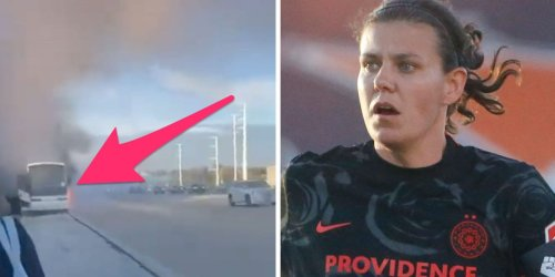 A women's soccer superstar posted a harrowing video of her team's bus engulfed in flames en route to a game