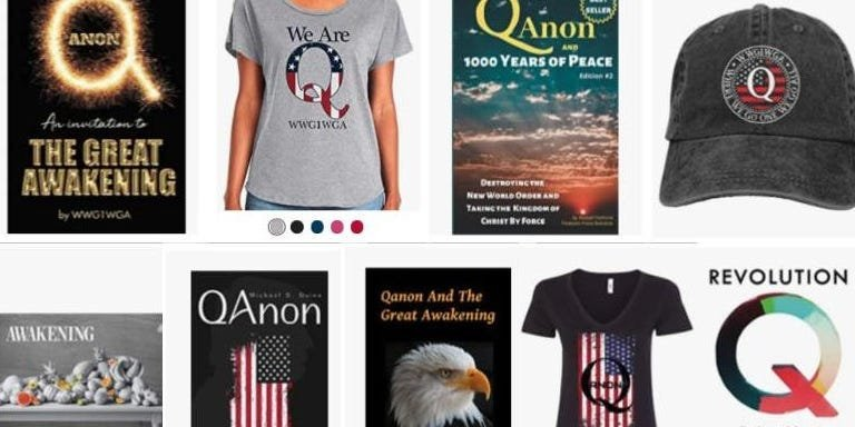 Amazon continues to sell and recommend QAnon merchandise as other companies crack down on the conspiracy theory