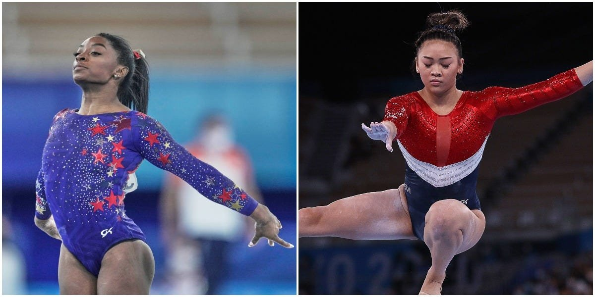 The US women's gymnastics leotards contain 76 stars and 7,600 Swarovski crystals in a nod to American history