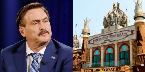 Some Mike Lindell fans reportedly stood in line for 7 hours to watch his rally at the Corn Palace — but when the event started, the venue was half empty