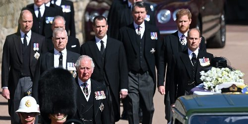 Senior male royals broke with tradition and did not wear military uniforms to Prince Philip's funeral
