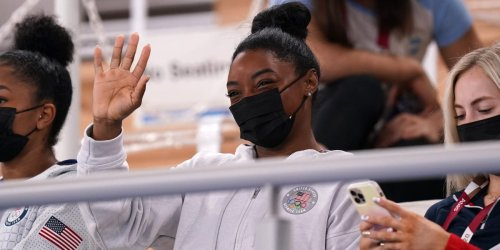 Simone Biles was in the stands to support her teammates after dropping out of her second Olympics event
