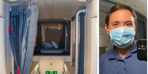 I went inside the secret airplane compartment where flight attendants sleep on long-haul flights and was shocked by its size