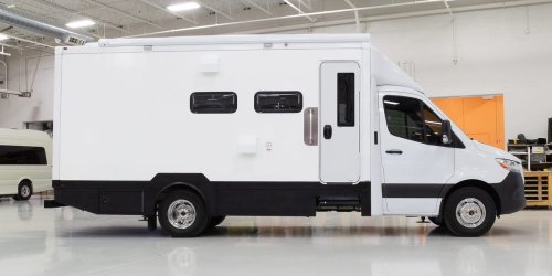 A popular RV maker has unveiled a more than $400,000 tiny home in a 'box' built on a Mercedes-Benz Sprinter – see inside the Asteroid of Happiness