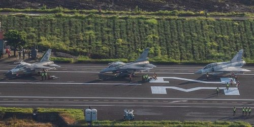 Taiwan's fighter jets landed on a highway in another test of the island's ability to counter a Chinese attack