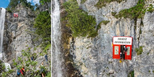 Tourists are unhappy about a selfie-ruining art installation near a waterfall in Austria