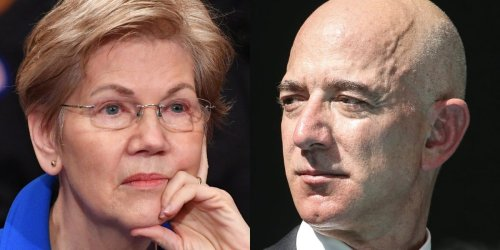Elizabeth Warren took aim at Jeff Bezos, saying 'the richest guy on Earth can launch himself into space while over half the country lives paycheck to paycheck'