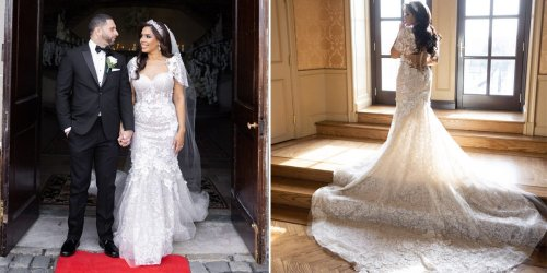 A bride wore a stunning lace wedding dress that had a see-through corset bodice