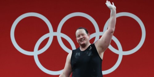 An Olympics reporter was met with silence when he asked the women's weightlifting podium about Laurel Hubbard
