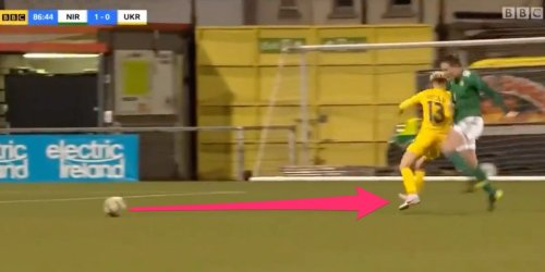 A soccer player ran straight into her opponent and ignored the ball, earning a wild red card in final moments of UEFA Women's Championship