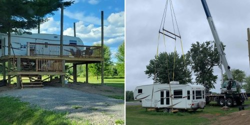 A couple created a treehouse RV by using a crane to lift their 7,000-pound trailer onto a platform 8 feet above the ground