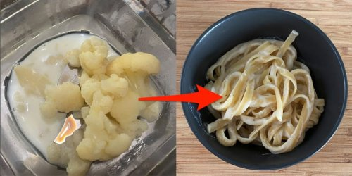 My favorite recipe for fettuccine Alfredo swaps cream for cauliflower and doesn't even taste like vegetables