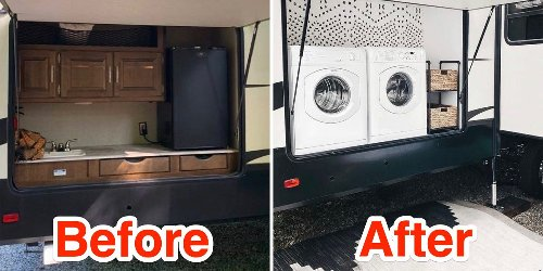 Before-and-after photos show how a mom renovated her family's RV to turn it into a chic modern home