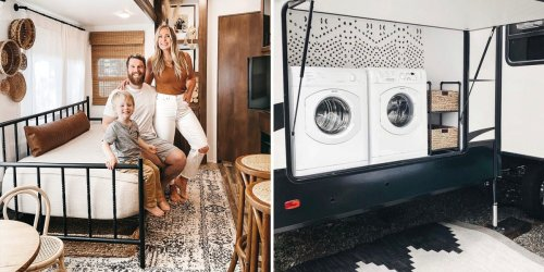 A family of 3 lives in a stylish RV with a laundry room, kitchen island, and walk-in closet. Take a look inside.