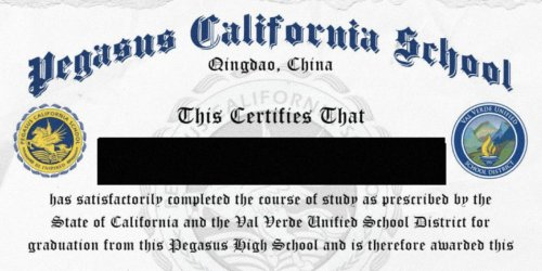 This public California school district bestowed diplomas to students at a private high school in China