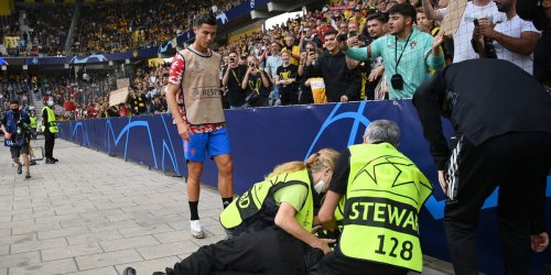A steward asked Cristiano Ronaldo if she had died after being hit by the soccer star's wayward shot