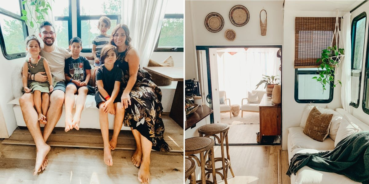 A family of 6 lives full-time in a 440-square-foot RV that they transformed into a stunning tiny home on wheels