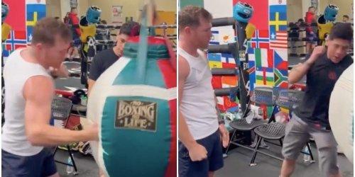 'Canelo' Alvarez was seen teaching UFC champ Moreno how to throw his trademark body shot