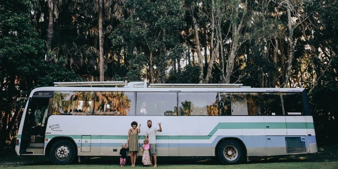 A couple converted a school bus into a cozy tiny home, and they now travel around Australia full-time with their 2 children