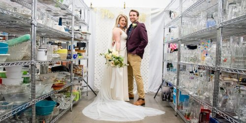 A couple who is thrifting their wedding decor had a stunning photo shoot in a Goodwill store