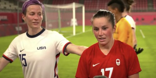 Megan Rapinoe interrupted her opponent's interview and told her to 'go win' gold after USWNT upset