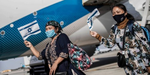 235 Indians who claim descent from one of the Ten Lost Tribes of ancient Israel land in Tel-Aviv to start a new life