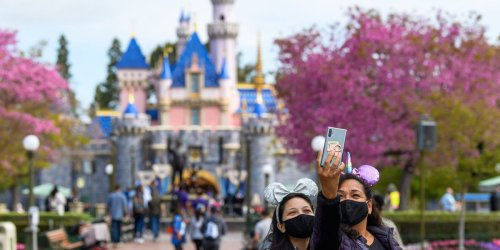 Disneyland is ditching mask requirements for fully vaccinated guests on Tuesday and will rely on customers to 'self-determine distancing' at the California park
