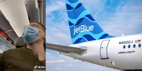 A JetBlue passenger said the flight crew threatened to kick him off the plane after a first-class passenger gave him an eye mask but an attendant demanded he give it back