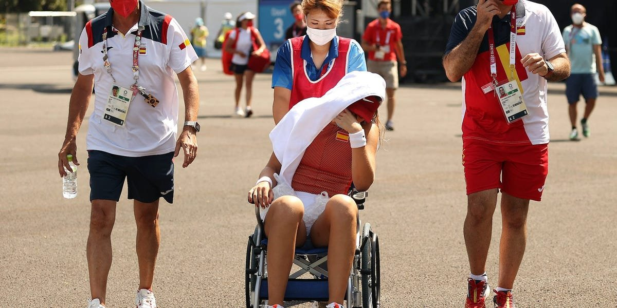 Olympic tennis player Paula Badosa left the court in a wheelchair after retiring from heatstroke