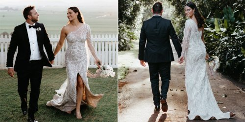 A bride wore a sheer, one-sleeved dress covered in head-to-toe floral lace to her wedding
