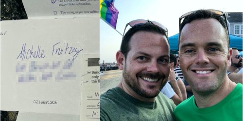 A small Massachusetts town is rallying behind a gay couple who received homophobic hate mail by buying T-shirts with a reclaimed slur on them